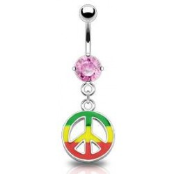 piercing nombril peace and love coloris rasta