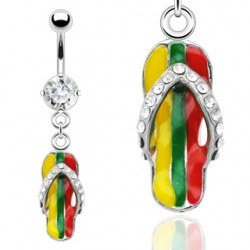 Piercing nombril tong rasta jamaiquaine