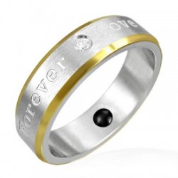 bague acier et traité or love for ever T59