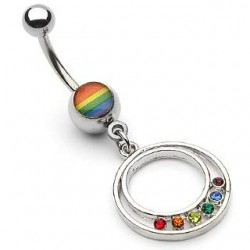 piercing nombril cercle et cz coloris gay