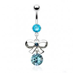 Piercing nombril noeud papillon cz bleu n° 2