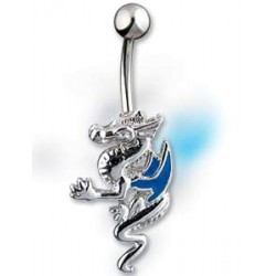Piercing nombril Dragon chinois argenté