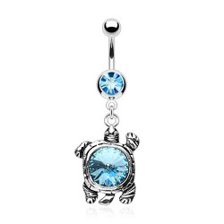 "piercing nombril ""tortue "" bleu"