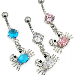 "Piercing nombril crabe "" crystal """