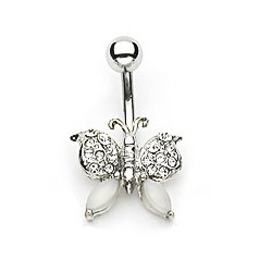 "Piercing nombril papillon "" blanc """