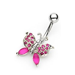"Piercing nombril papillon ""rose """