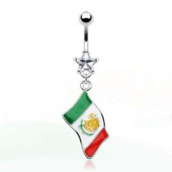 piercing nombril drapeau Mexique
