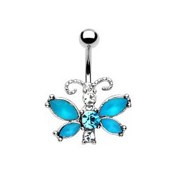 "Piercing nombril "" papillon 2 "" bleu"