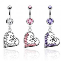 piercing nombril coeur multi cz rose cleo