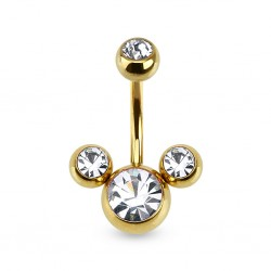 piercing nombril mickey or et cz crystal