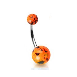 Piercing nombril tacheté orange fluo