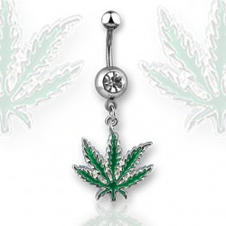 piercing nombril feuille cana verte