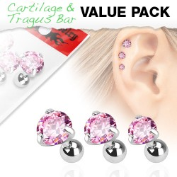 lot 3 piercing tragus cz serti rose