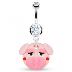 piercing nombril  style manga petit cochon rose
