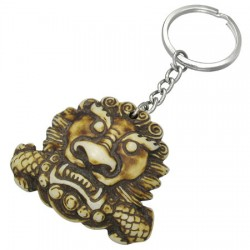 Grand porte clefs ethnique os de yak lion imperial tibetain