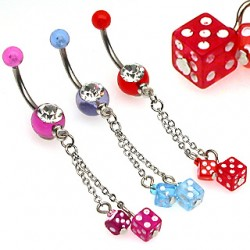 Piercing nombril poker chaine et double dé rouge