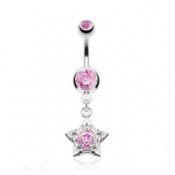 piercing nombril etoile estelle cz rose