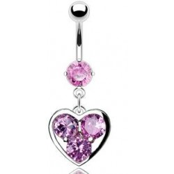 piercing nombril coeur et multie gemme rose
