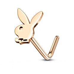 Piercing nez acier playboy bunny coloris or rose