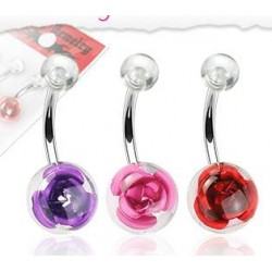 Piercing nombril Cerise rouge tete de mort gothique