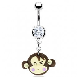 piercing nombril tete de singe sourire
