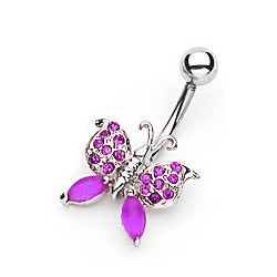 "Piercing nombril papillon "" violet """