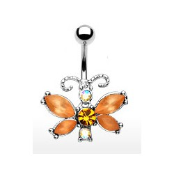 Piercing nombril papillon ambre