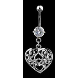 "Piercing nombril "" coeur vintage "" crystal"