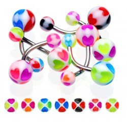 Lot 7 piercing nombril coeur multicolore