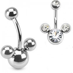 piercing nombril mickey cz crystal