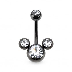 piercing nombril mickey noir cz crystal