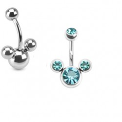 piercing nombril mickey cz bleu