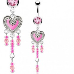 Piercing nombril coeur vintage lucie rose