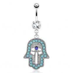 piercing nombril main de fatima bleu clair