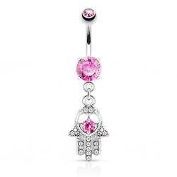 piercing nombril orient hamsa cz rose