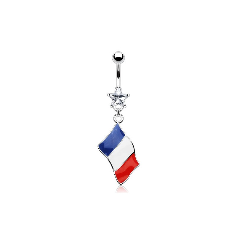 Piercing nombril drapeau France