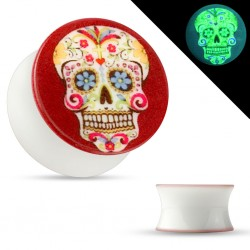 piercing ecarteur 14 mm tete de mort mexicaine phosphorescent