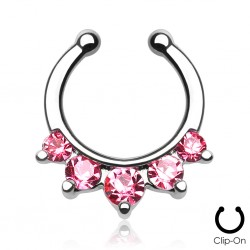 Faux piercing nez septum cz rose